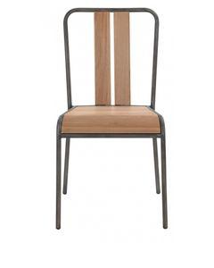 Chaise d'écolier chêne et métal brossé Manhattan