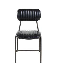 Chaise vintage imitation cuir et pieds métal Marius