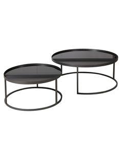 Tables basses gigognes métal noir et verre trempé (set de 2) Markus