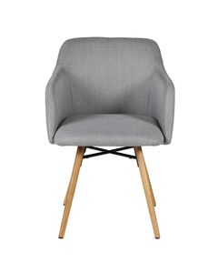 Chaise accoudoirs gris clair en tissu pieds chêne naturel May