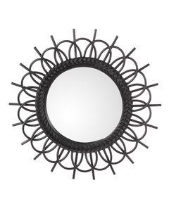 Miroir en rotin noir Nosy