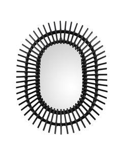 Miroir rotin noir Ocean