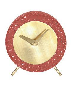 Horloge en béton effet terrazzo rouge brique Muzz