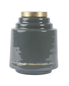 Vase en fer émaillé gris OLIA