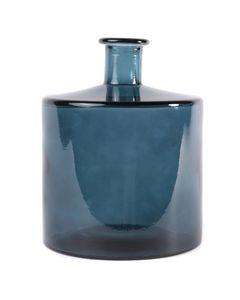 Vase d'Espagne verre 100% recyclé teinté bleu foncé h 26 cm Opium
