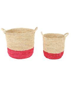 Paniers de décoration jonc de mer naturel et corail Panama (set de 2)