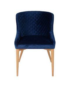 Chaise velours matelassé pieds bois naturel