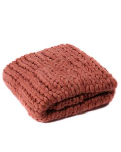 Plaid terracotta grosse maille Frio