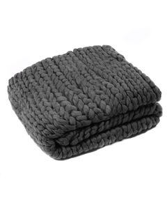 Plaid gris grosse maille Frio