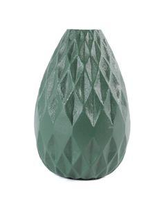 Vase moderne design graphique métal émaillé vert d'eau h 21 cm Rubis