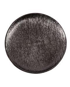 Assiette décorative en métal Ø 33 cm noire L Steel