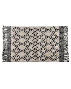 Tapis à motifs noir et blanc en laine avec franges Lozi