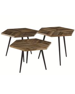 Tables basses hexagonales teck recyclé et métal WOODY (set de 3)