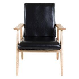 Fauteuil vintage imitation cuir noir et bois Alfred