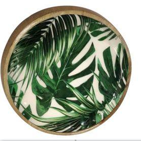 Plat décoratif rond motifs jungle en bois de manguier Ø 20 cm Aloha