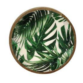 Plat décoratif rond à motifs jungle en bois de manguier Ø 15 cm Aloha