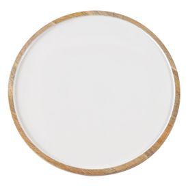 Assiette décorative blanche en bois de manguier Ø 35 cm Aloha