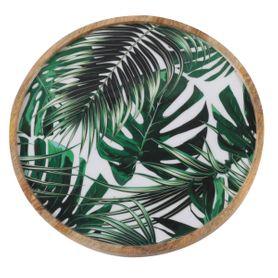 Assiette décorative motifs jungle en bois de manguier Ø 35 cm Aloha