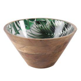 Saladier conique décoratif motifs jungle en bois de manguier Ø 30 cm Aloha