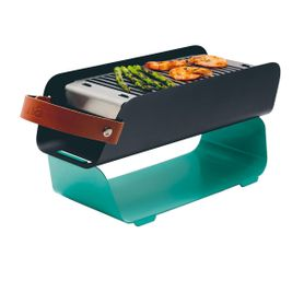 Barbecue portable en métal vert d'eau