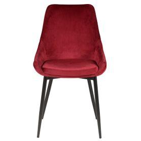 Chaise en velours rouge pieds métal BARI