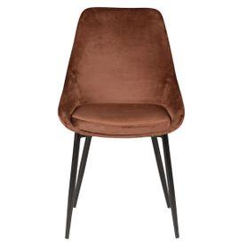 Chaise en velours marron pieds métal BARI