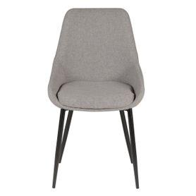 Chaise en tissu gris clair et pieds métal BARI