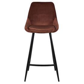 Chaise plan de travail en velours marron et pieds métal BARI (lot de 2)