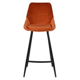 Chaise plan de travail en velours orange et pieds métal BARI