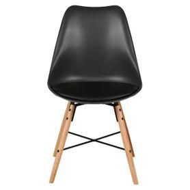 Chaise scandinave à coque noire et piétement croisillon Bingo