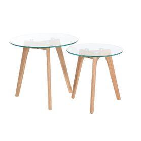 Tables basses gigognes chêne et verre Scandie