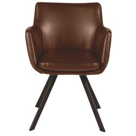 Chaise accoudoirs imitation cuir marron et pieds métal Carl