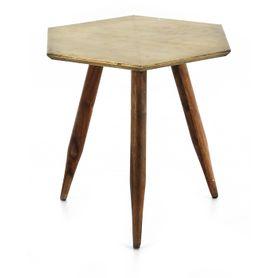 Table basse bois de palissandre et métal finition laiton vieilli Coppen