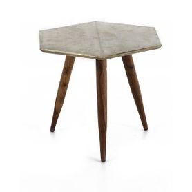 Table basse bois de palissandre et métal finition argent vieilli Coppen