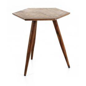 Table basse bois de palissandre et métal finition cuivre vieilli Coppen