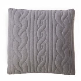 Housse de coussin grise brodée en laine 45 x 45 cm Cléo