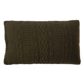 Coussin rectangulaire 50 x 30 cm en laine vert Eden