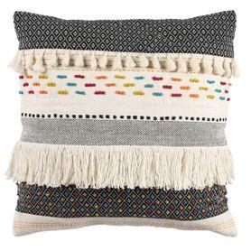 Coussin à franges tricoté à la main 50 x 50 cm Star