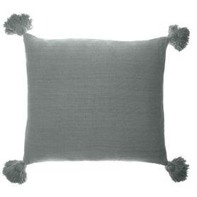 Coussin en coton gris bleu carré 80 x 80 cm Laly