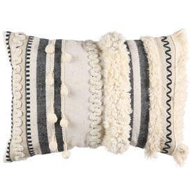 Coussin en coton blanc à franges 35 x 50 cm
