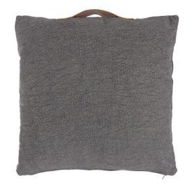 Coussin en coton et cuir de chèvre gris foncé 50 x 50 cm Mill