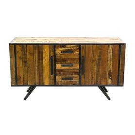 Buffet 2 portes 3 tiroirs en bois et métal Cusco