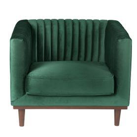 Fauteuil velours vert vintage Dante