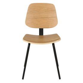 Chaise bois plaqué frêne et métal design Erra