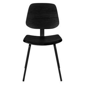 Chaise bois en plaqué frêne noir et métal Erra