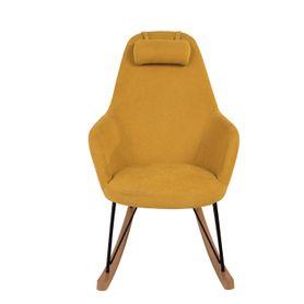 Rocking-chair scandinave en tissu jaune et bois Evy