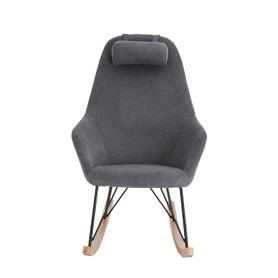 Rocking-chair scandinave en tissu gris clair et bois Evy