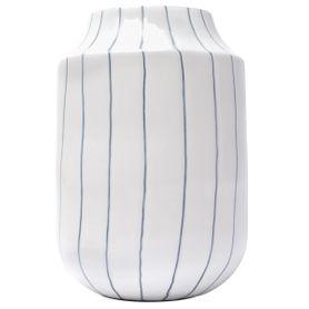 Vase en fer émaillé blanc et lignes décoratives bleues FYNN