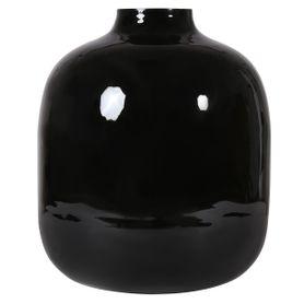 Vase rond en fer émaillé noir Haley