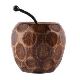 Pomme décorative en bois de manguier et métal Hilo
